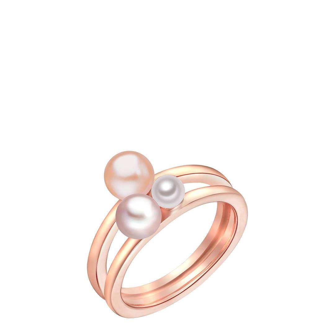 Nova Pearls Copenhagen Rose GoldWhite Pearl Ring White freshwater