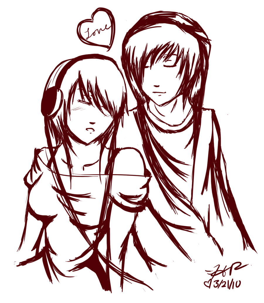 drawings of couples emo couple by strawberryeater