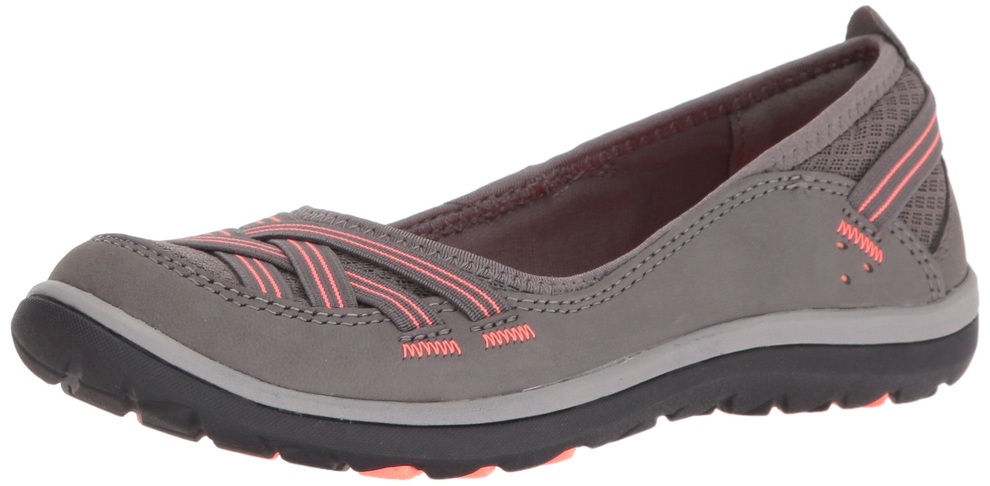 fbc2c8582f1e Clarks Womens Aria Pump Flat Dark Grey Nubuck Coral 5 M US    Click on the  image for additional details. (This is an affiliate link and I receive a ...