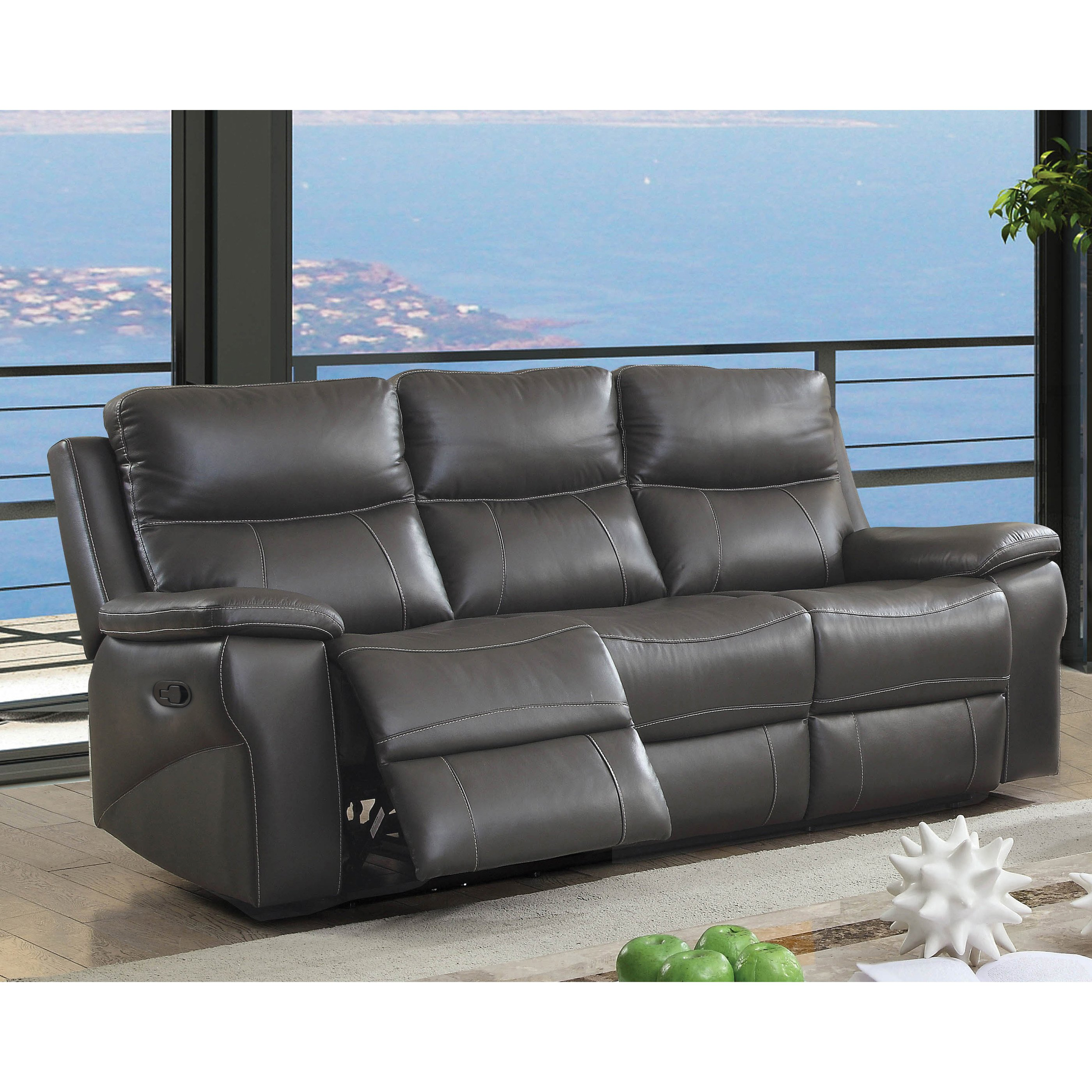Miraculous Maruna Transitional Grey Reclining Sofa By Foa Grey Gray Machost Co Dining Chair Design Ideas Machostcouk