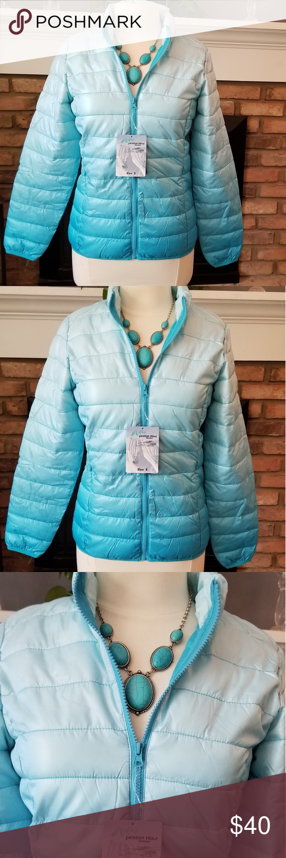 Jackson Hole Ombre Teal Puffer Small Jacket Jacket Brands Clothes Design Fashion [ 1740 x 580 Pixel ]