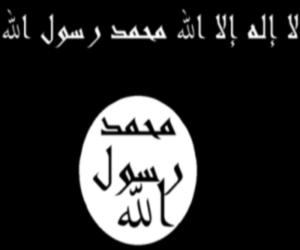 Salam, Le drapeau que l'on aperçoit souvent en ce moment, celui ou on lit la shahada: لا إله إلا الله et qui contient à l'envers: الله رسول محمد Je sais pas pourquoi, mon coeur n'est pas apaisé. Je préfère le drapeau sur la photo joint...