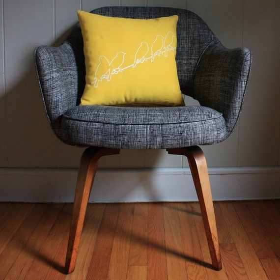 Oh my gosh, yellow pillow + danish style chair in blue = loooove!