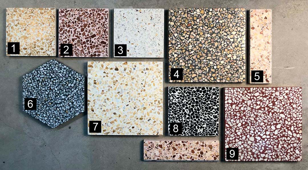Classic Terrazzo tiles   Large variety of marble and cement colours