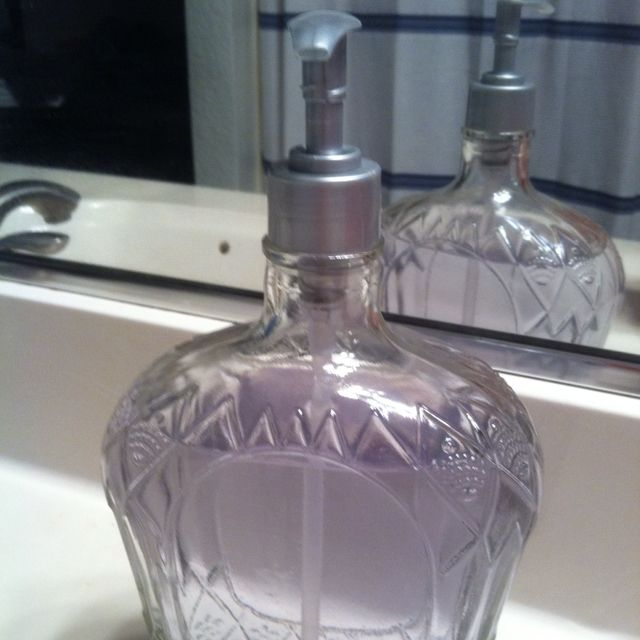 A Reusable Bottle Pump With An Empty Of Crown Royal And You Have Upcycled Soap Dispenser Too Bad I Don T Drink