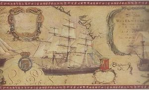 Wall Borders world map Old World Map Ships Red Trim