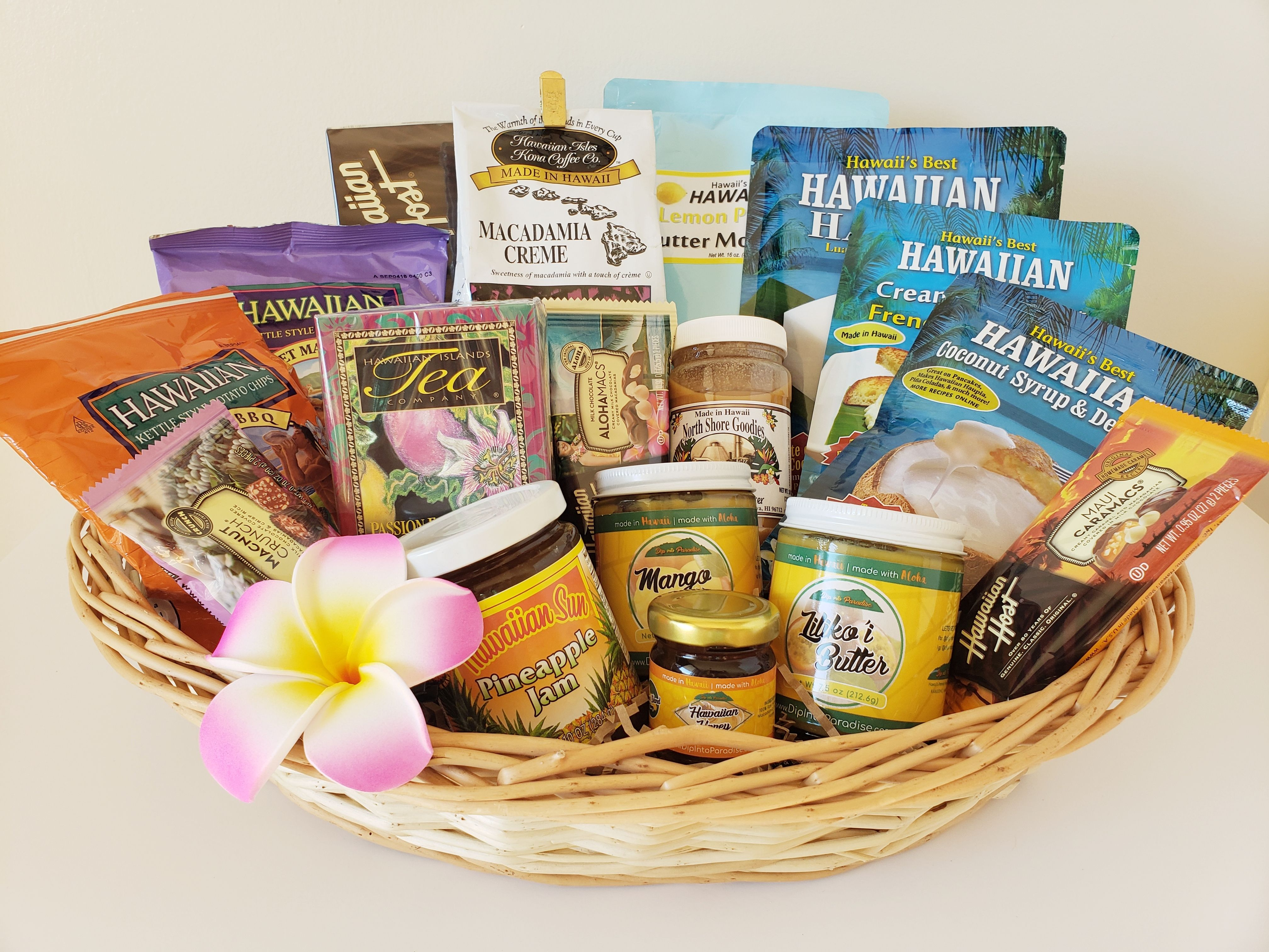 Delicious hawaiian foods in gathered in one basket for you