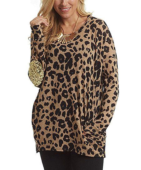 PinkBlush Mocha Leopard Sequin-Elbow Top | zulily