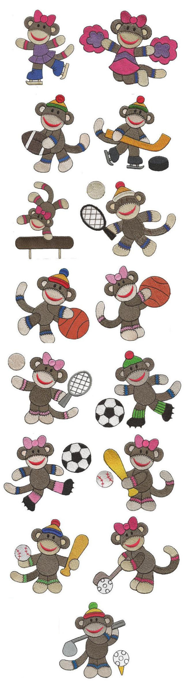 Sock Monkey Sports Filled embroidery design set available for ...