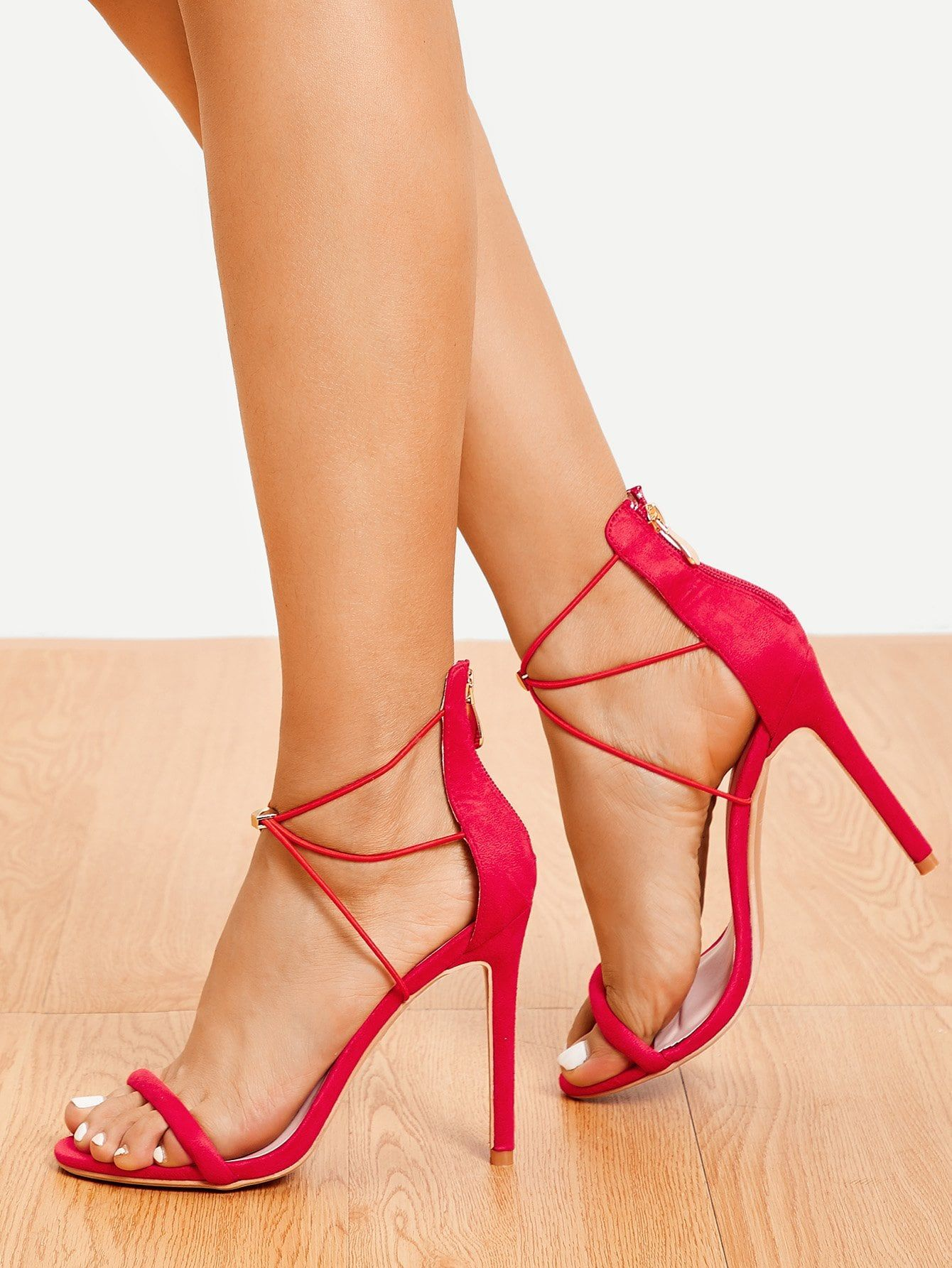 4279342242 Elegant Open Toe Strappy Red High Heel Stiletto Single Band Tie Leg  Stiletto Heels