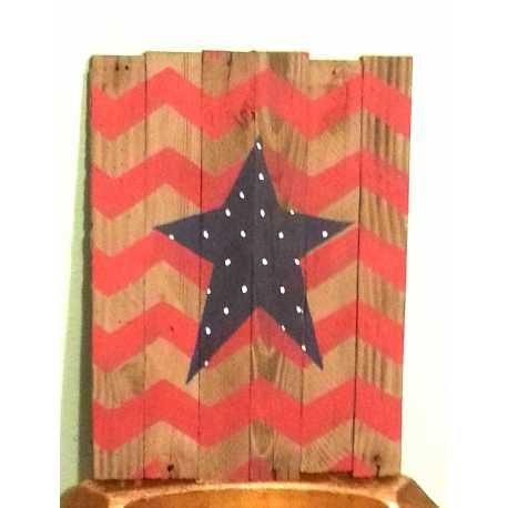 Rustic reclaimed wood sign  This barn wood sign with red chevron stripes and a blue star with dots will add some trendy style to your 4th of July    approximately 12x10 inches   Contact me with any questionS