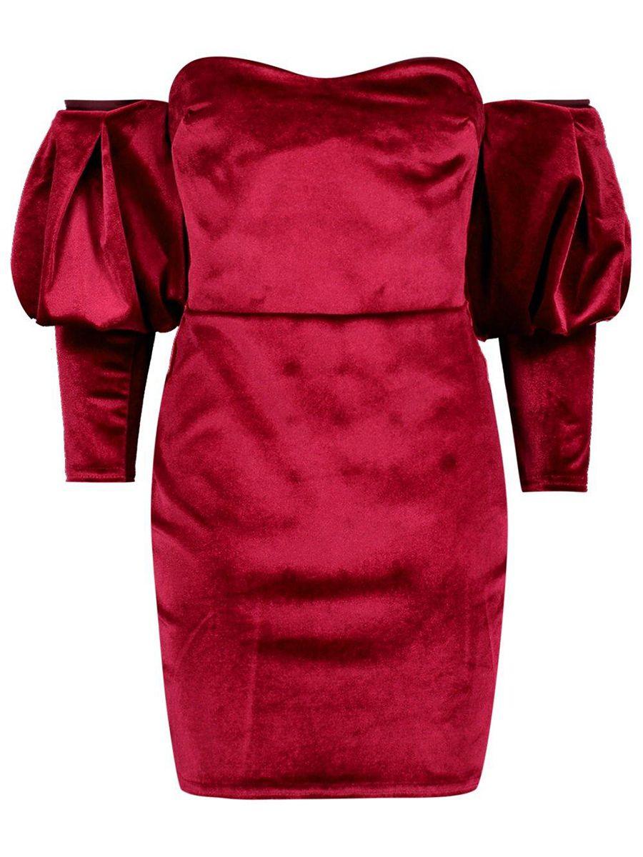 Burgundy off shoulder velvet womenus party dress shoulder