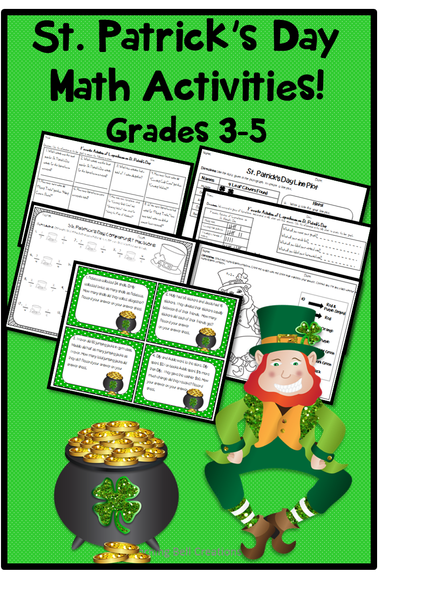 St. Patrick\'s Day Math Activities | Comparing fractions, Bar graphs ...