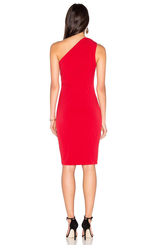 Velvet by Graham & Spencer Elly One Shoulder Midi Dress in Rouge   REVOLVE