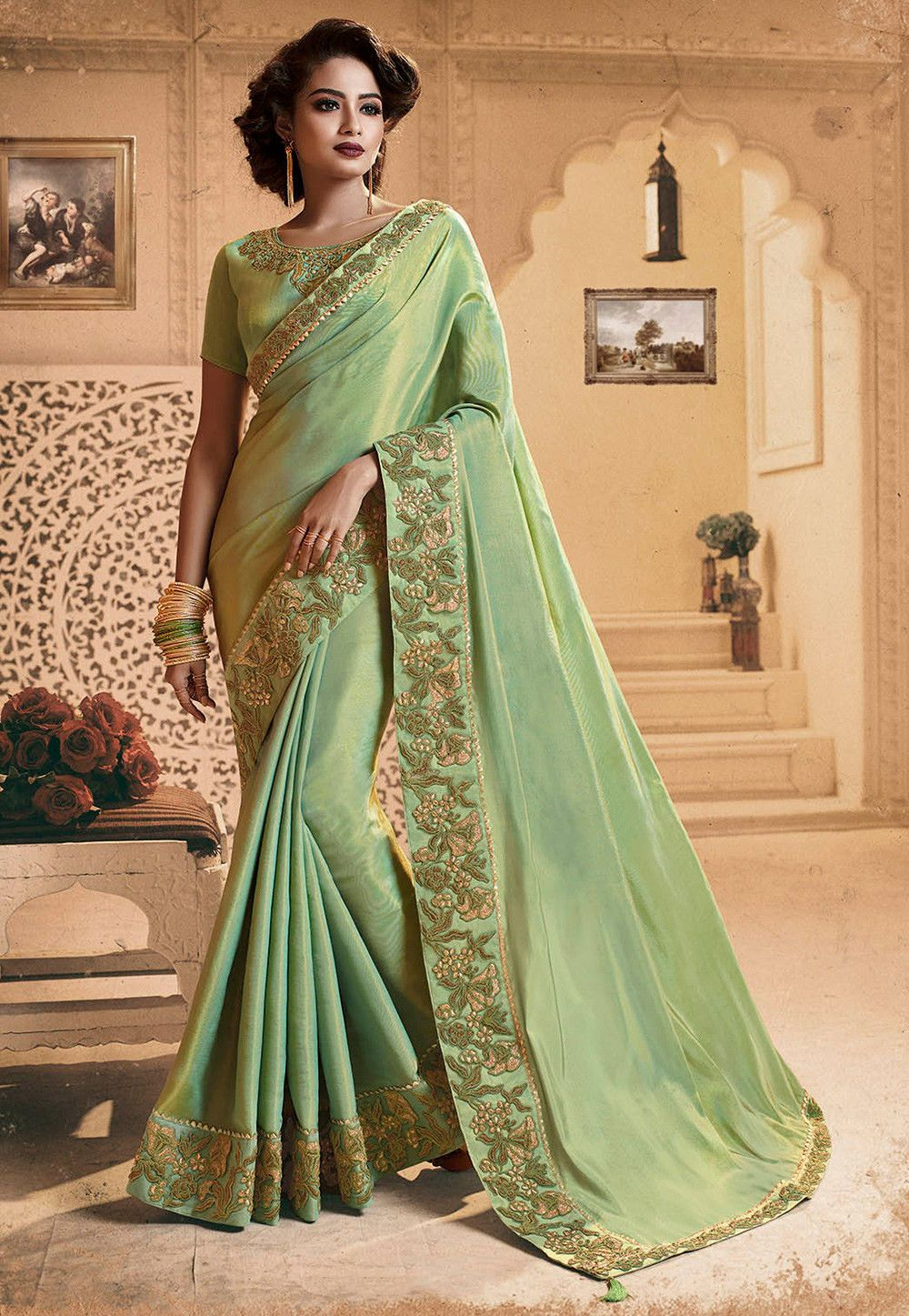 049e047d3c Buy Embroidered Border Art Silk Shimmer Saree in Pastel Green online, Item  code: SPFA3999, Color: Green, Occasion: Party, Festive, Work: Resham,  Traditional ...