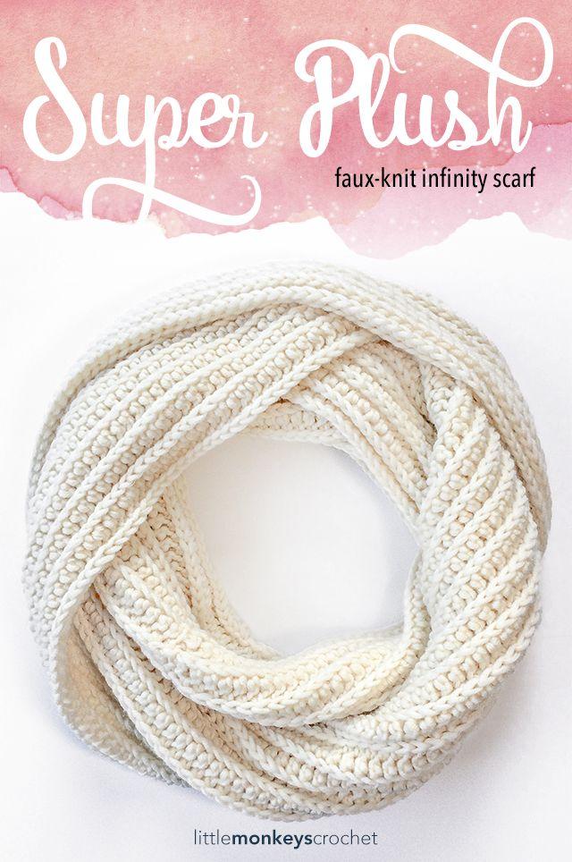 Super Plush Faux-Knit Infinity Scarf | Tejido, Tejidos en lana y ...