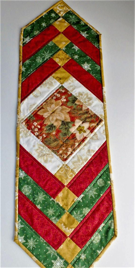Christmas Table Runner Quilted.Christmas French Braid Patchwork Quilted Tablerunner