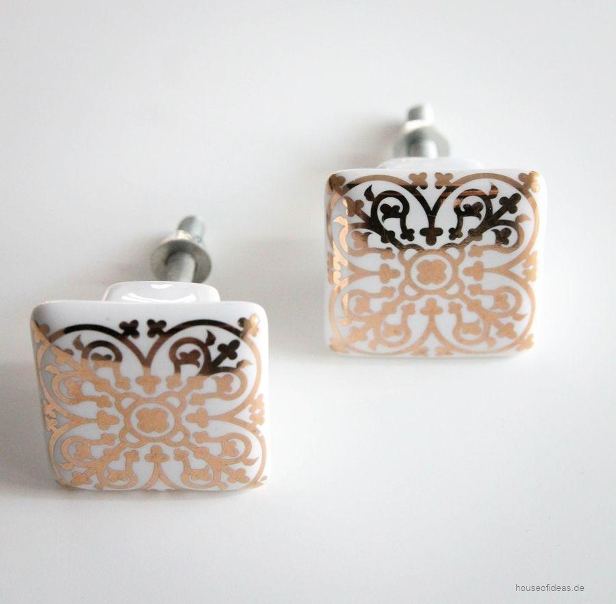 Mobelknauf Weiss Gold Ornament Mobelknauf Gold Und Bunzlauer Keramik