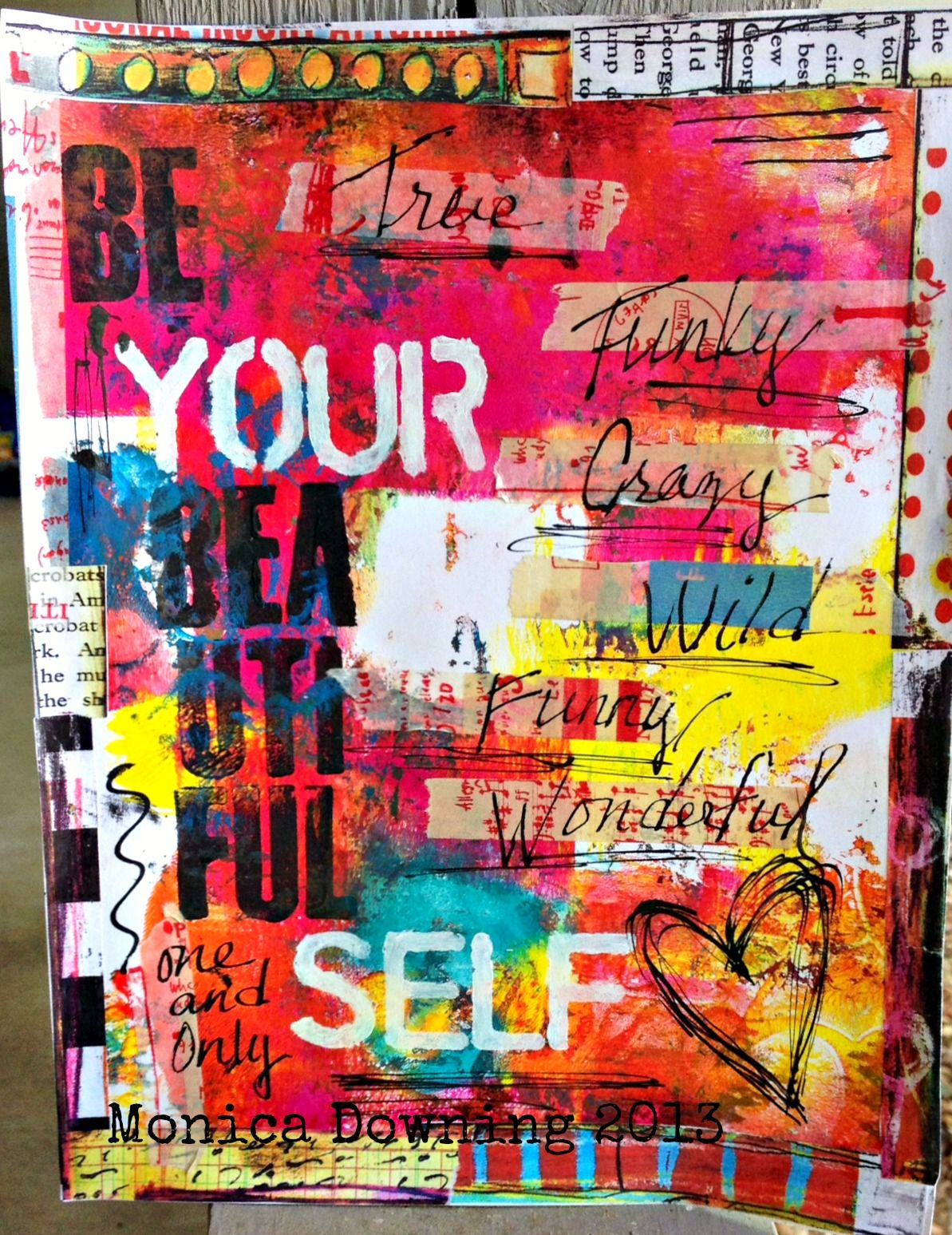 Gelli print journal page...just a reminder to Be Your Beautiful Self