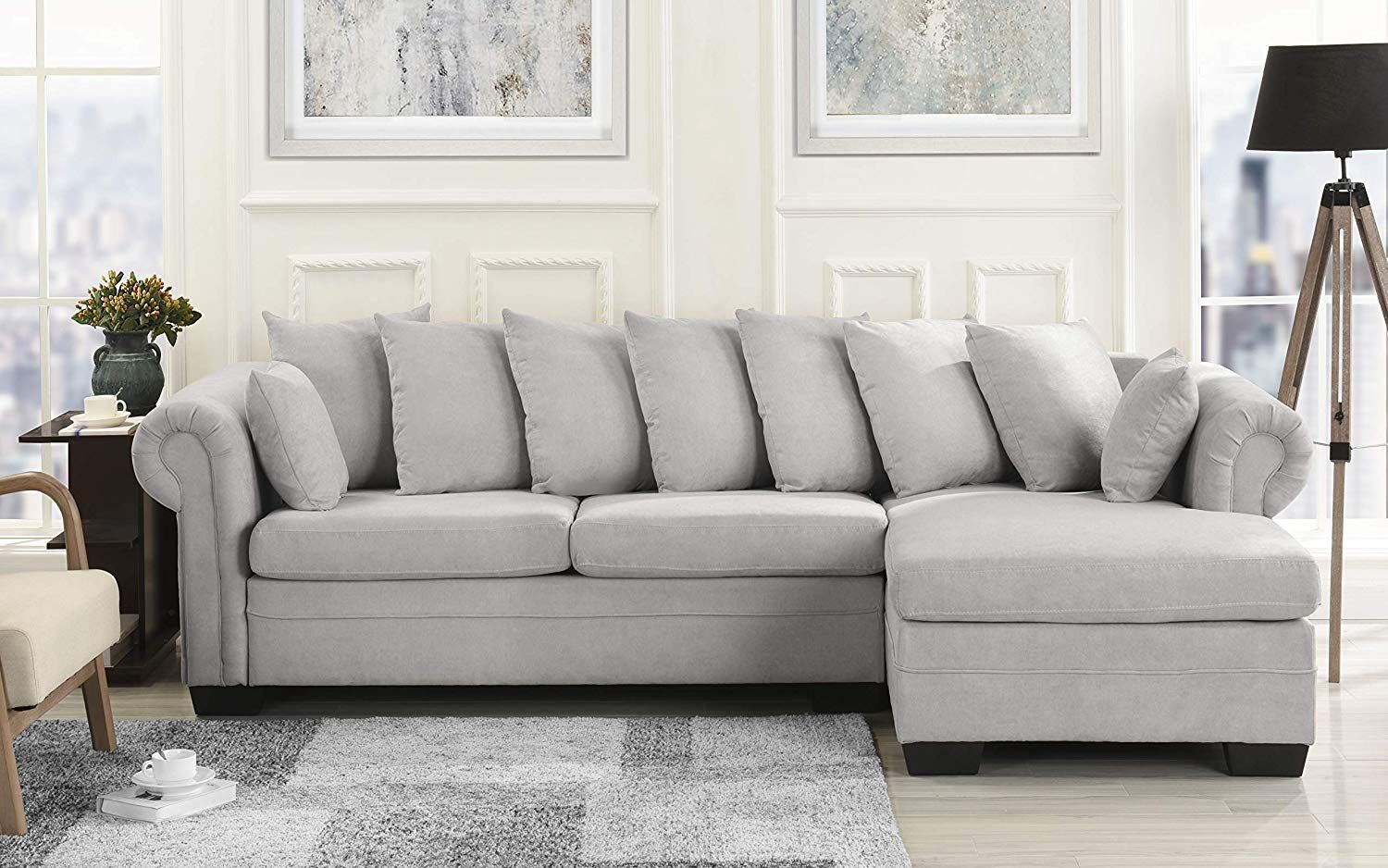 Modern Large Microfiber Sectional Sofa, L