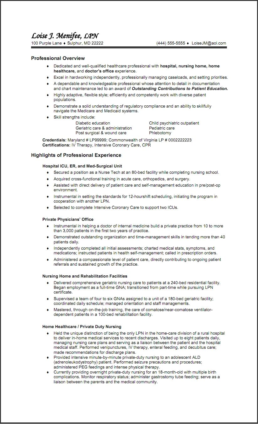 Example Lpn Resume Free Resume Templates For Lpn Nurses Resume Cv Templates Lpn