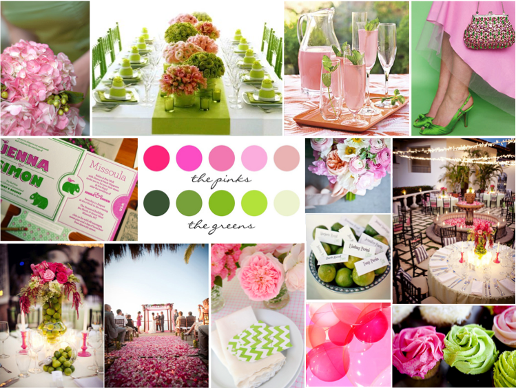 Color Palette Combinations For Wedding Pink And Green Flowers