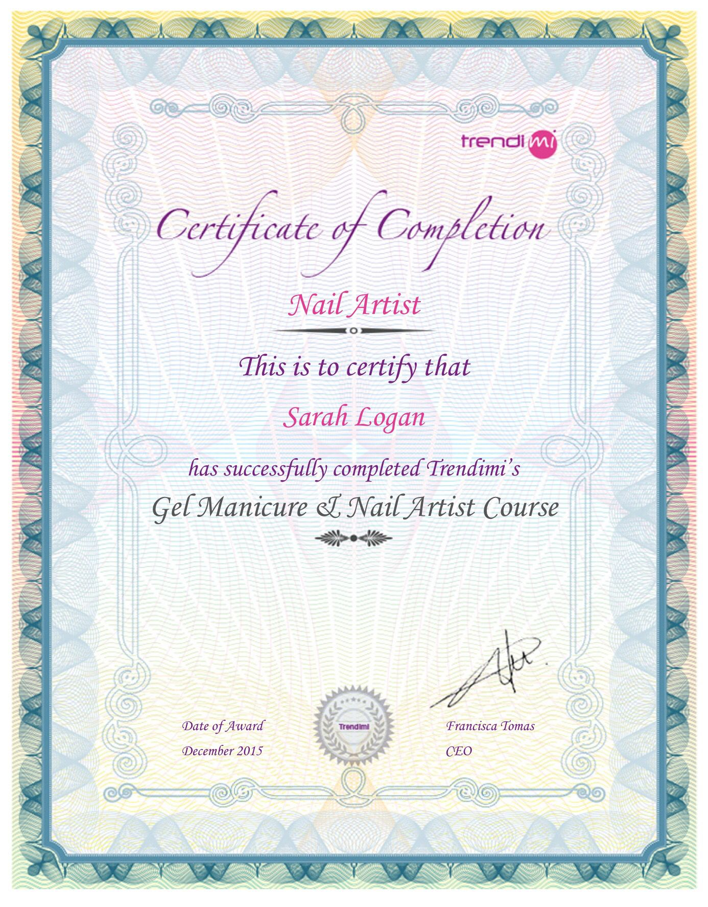 Completed My Gel Manicure Nail Artist Course Pinterest