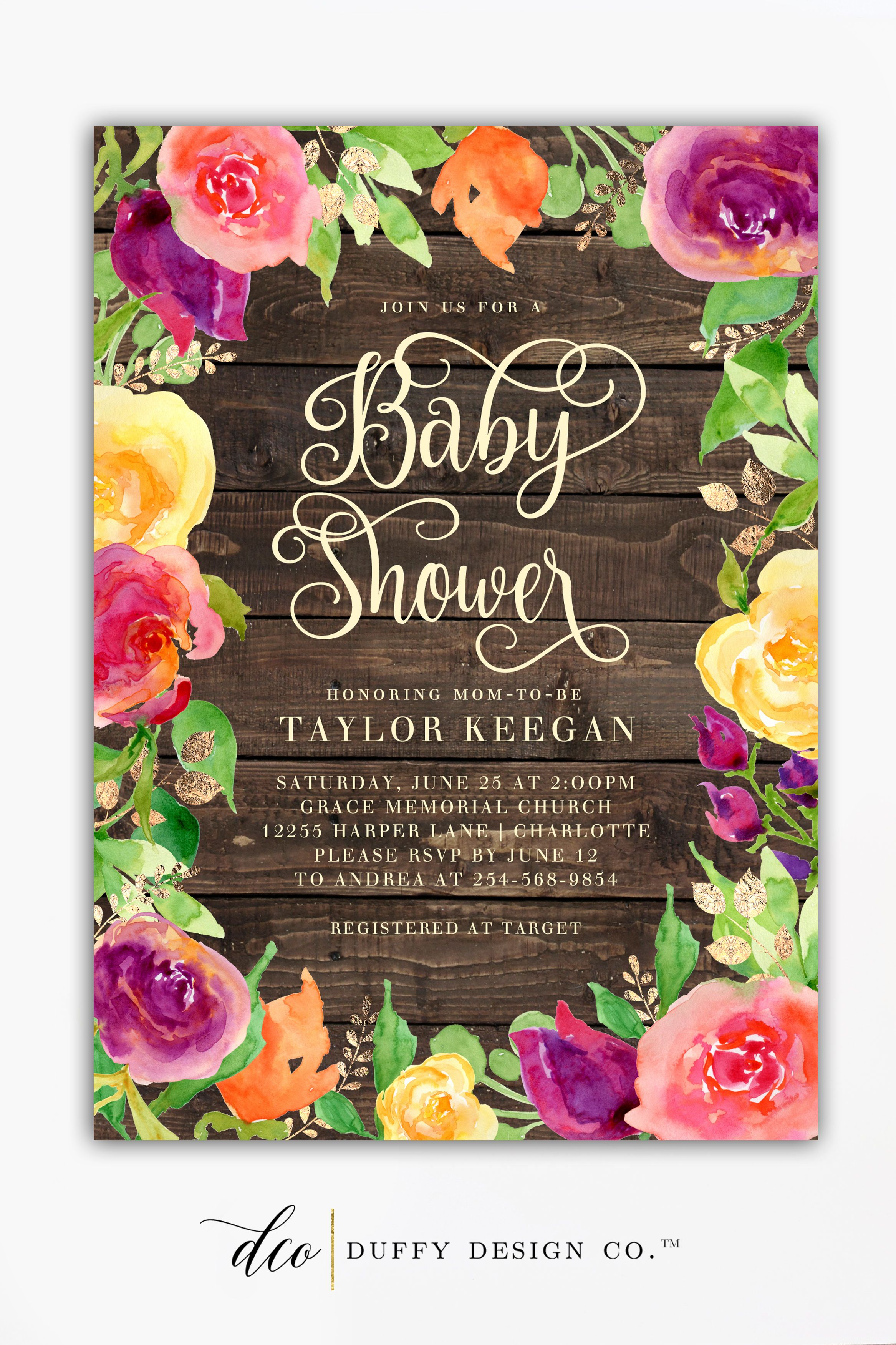 clever baby shower invitation wording%0A Gorgeous baby shower invitation with wood texture  watercolor florals and  gold accents  Perfect for