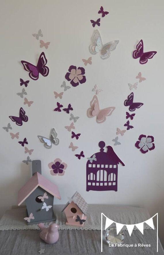Sur Commande - Stickers Cage À Oiseaux Papillons Fleurs Et Oiseaux
