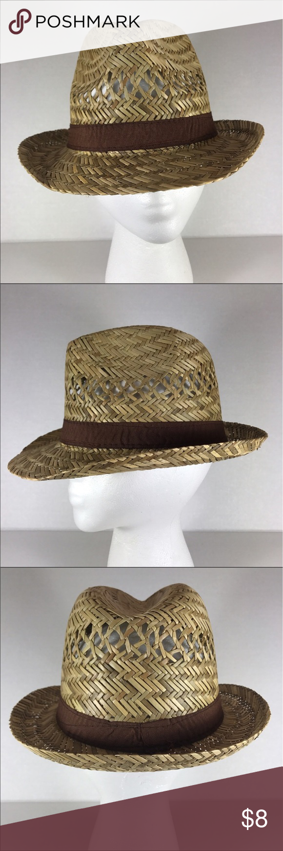 Straw fedora summer hat with brown ribbon Get ready for the sun with this classic women fedora straw hat. It's simplicity design with fabric ribbon trim makes it a wear-with-all piece.  Firm price Accessories Hats