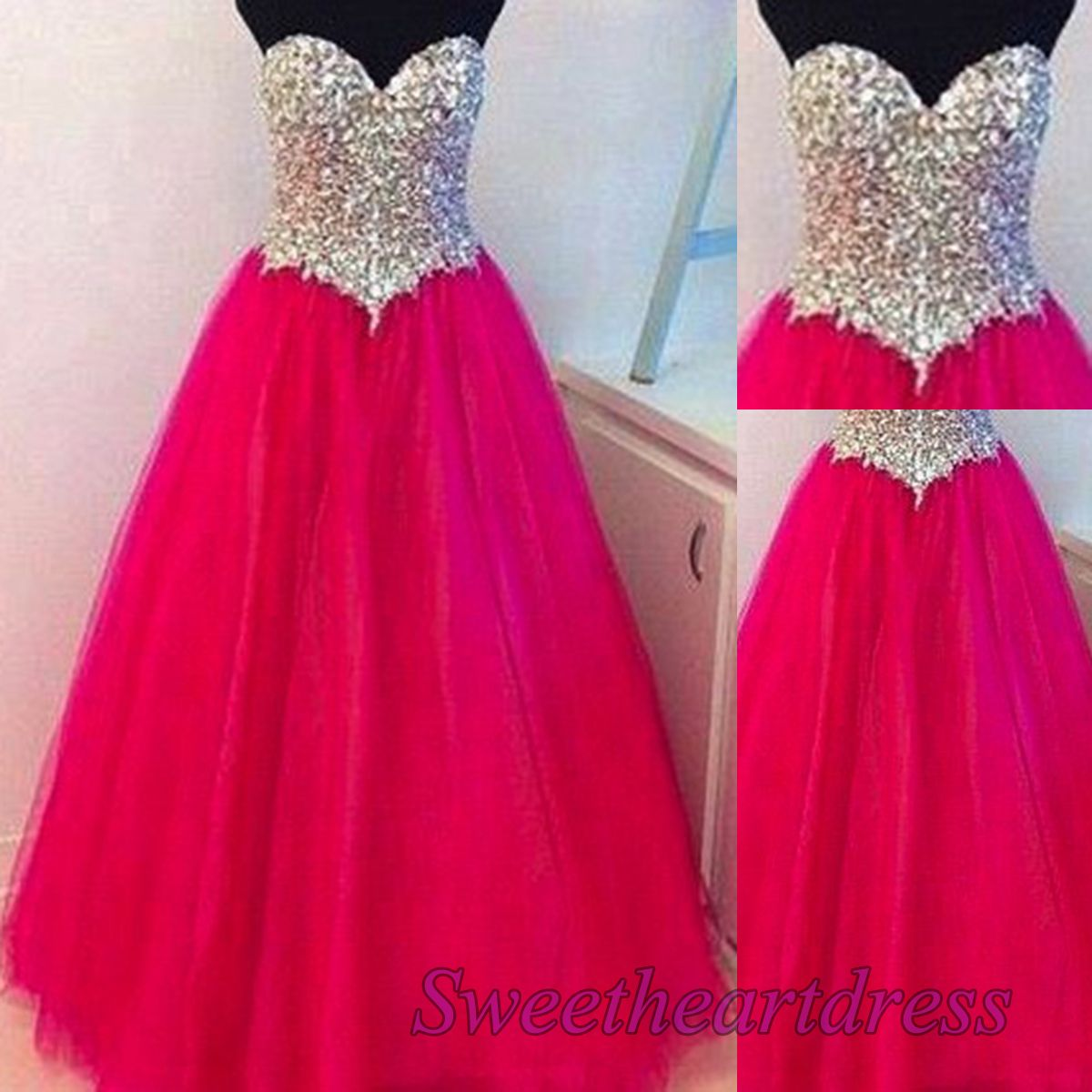 Beaded rose tulle a-line prom dress, sweetheart dress for teens ...
