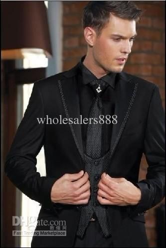 Slim Fit Black Two Buttons Groom Tuxedos Notch Lapel Best Man ...
