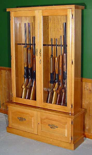 Oak 12 Gun Cabinet