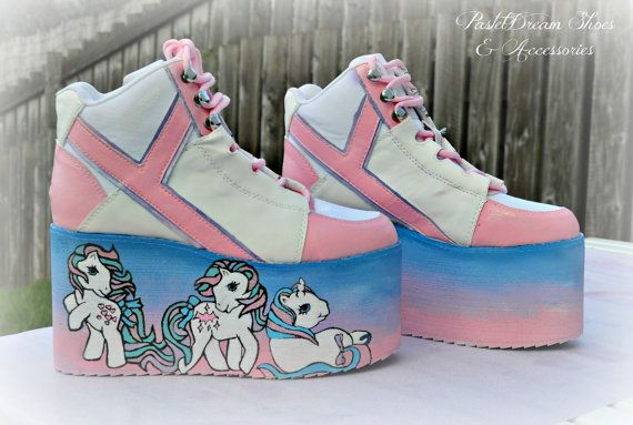 f829ec6a49f1 Hand painted little pony inspired platform by PastelDreamShoes    Where  have these been all my life !