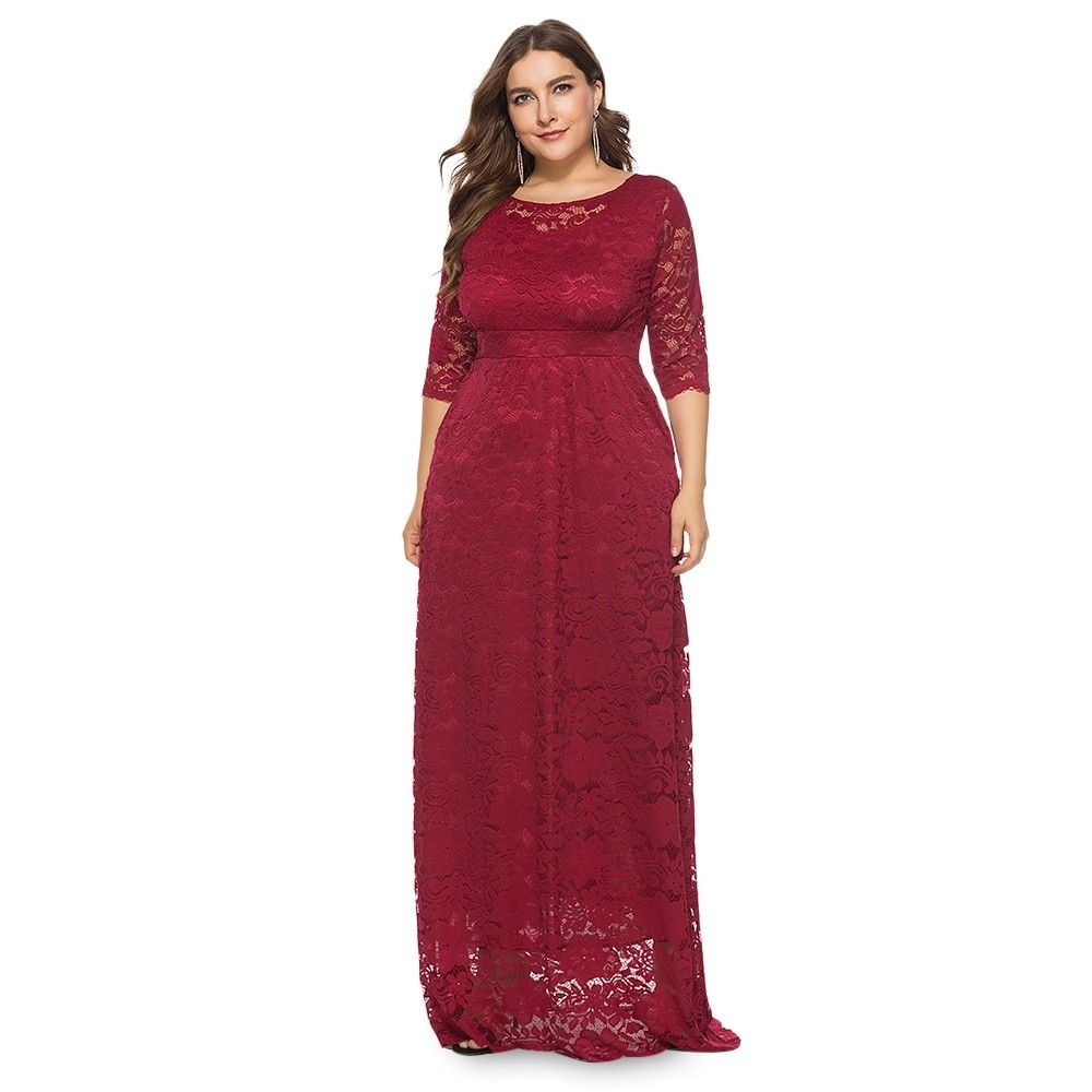 Round Collar 3 4 Sleeve Lace Crochet Plus Size Pocket Women Maxi Dress Red Wine 3a84967424 Size Xl Evening Dresses Plus Size Lace Dress Long Evening Dresses With Sleeves [ 1000 x 1000 Pixel ]
