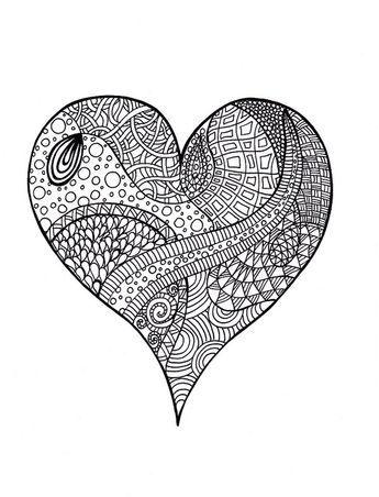 Heart Zentangle Colouring Page Boyama Sayfalari Boyama