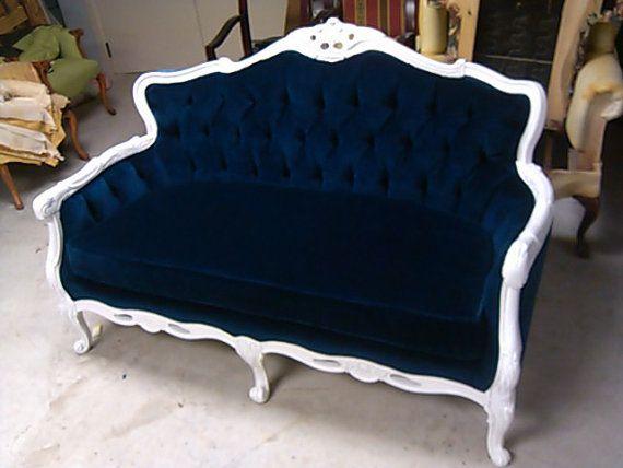 Blue Velvet Loveseat   Navy Blue White Frame Sofa Settee Couch. Yes Please.  How
