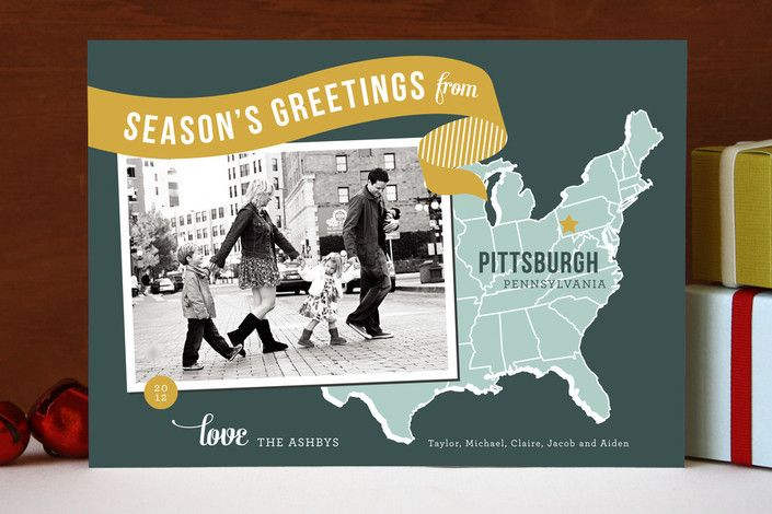 Holiday map postcard via minted online shop for ordering cards