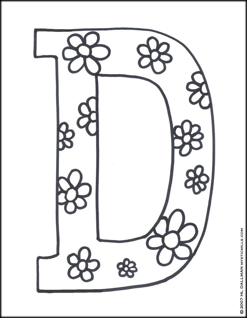 Letter D Coloring Pages Printable