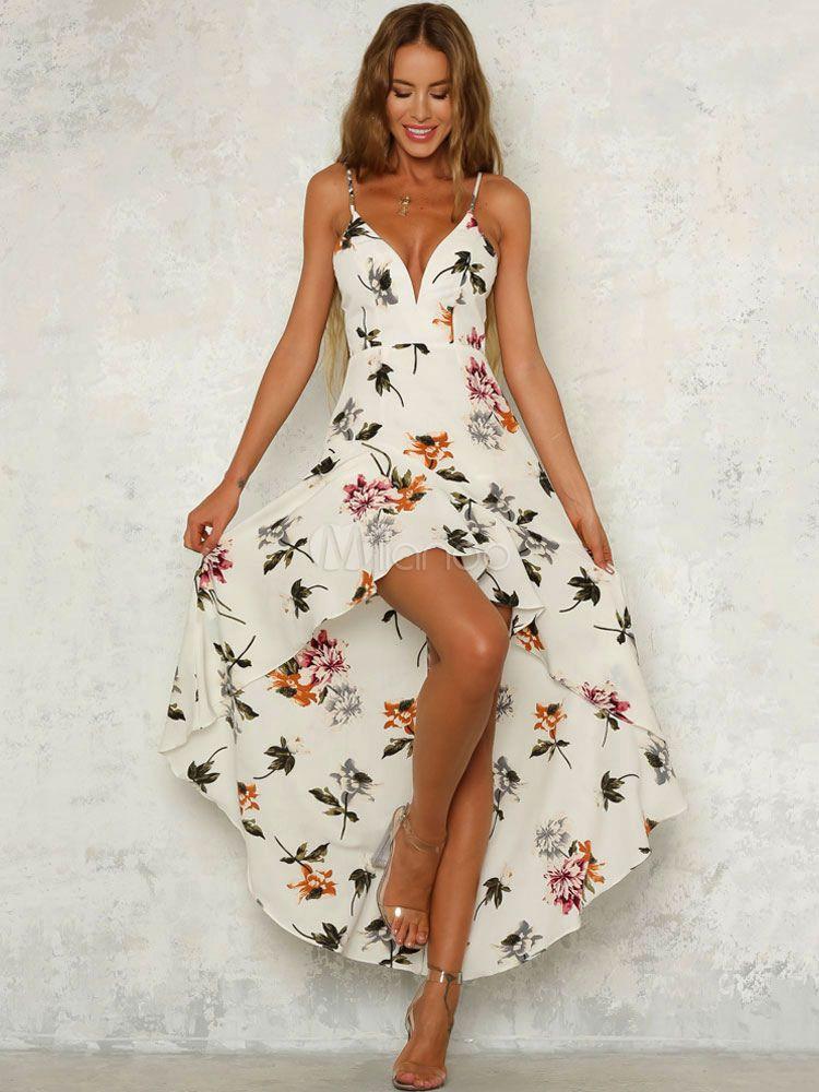 Only Damen Maxikleid Slip Dress Sommerkleid mit Print Trägerkleid Freizeitkleid