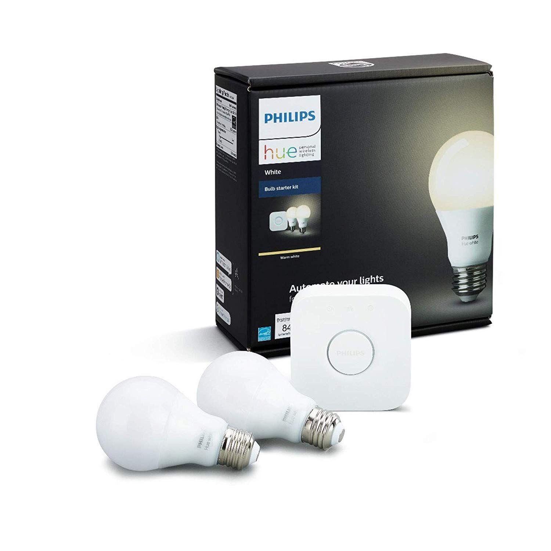 Philips Hue White A19 E27 60 W Equivalent Smart Bulb Starter Kit 2 Hue White Bulbs And A Bridge Compatible Hue Philips Led Smart Bulb Philips Hue Starter Kit