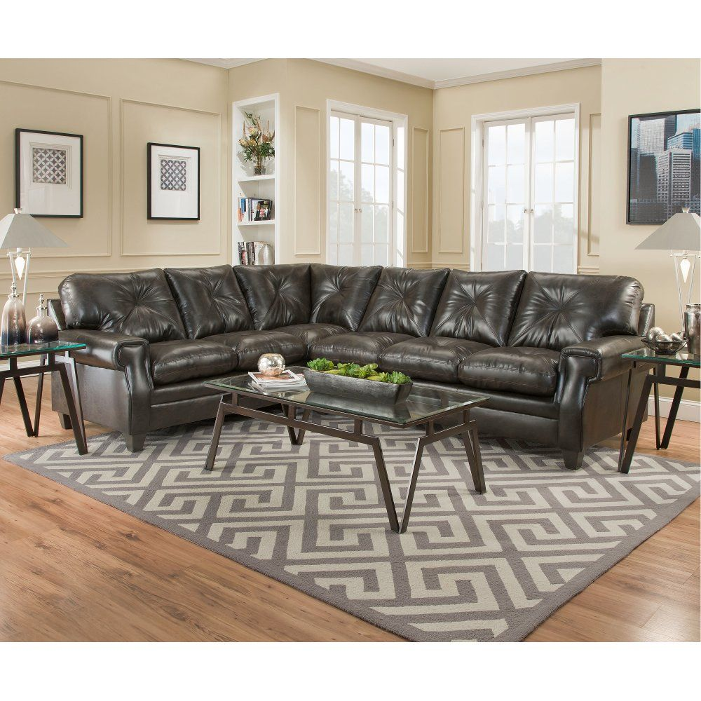Dark Brown Upholstered Classic Contemporary 2 Piece Sectional Lucky Sectional Sofa 2 Piece Sectional Sofa Brown Walls Living Room