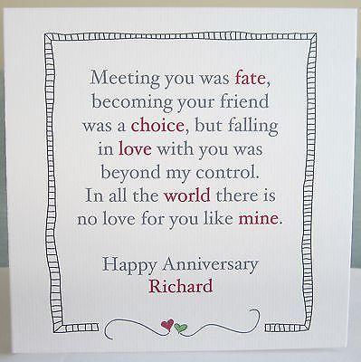 Personalised Handmade Wedding Anniversary Card Husband Wife 1st 10th 40 Any Ye