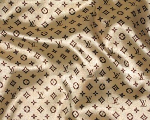 Louis Vuitton Print Gold Brown Satin Fabric Life Style