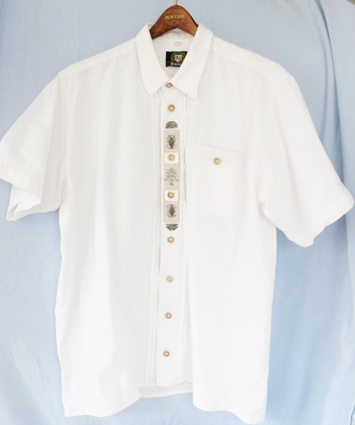 d8208fd5 Men TRACHTEN SHIRT, short sleeve, textured Cotton, Linen, Metal Edelweiss  Horn Buttons, Embroidery, XXL, Alpine, Bavarian, Austrian, ...