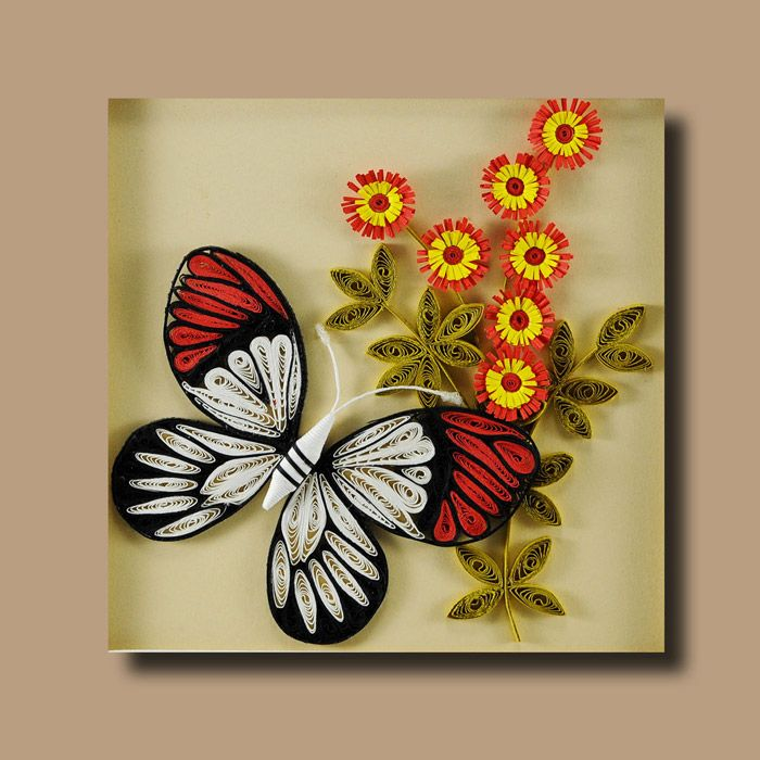 Framed quilling wall hanging butterfly no 2 quilling for Quilling home decor
