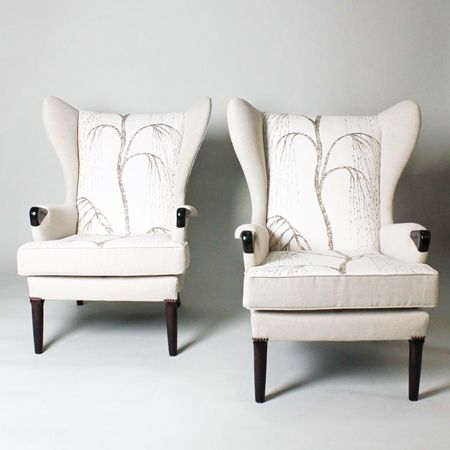 Parker Knoll Wingback Armchairs With Willow Patterned Fabric.
