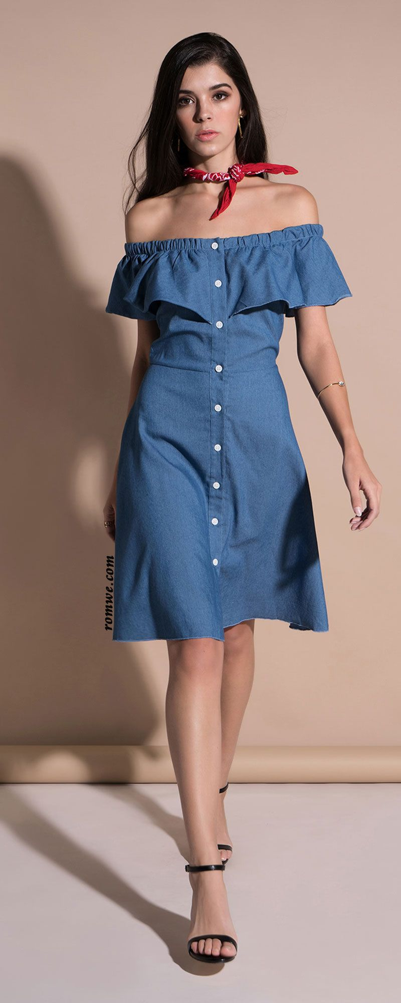 Denim Off Shoulder Ruffle Dress Pretty dresses, Fashion