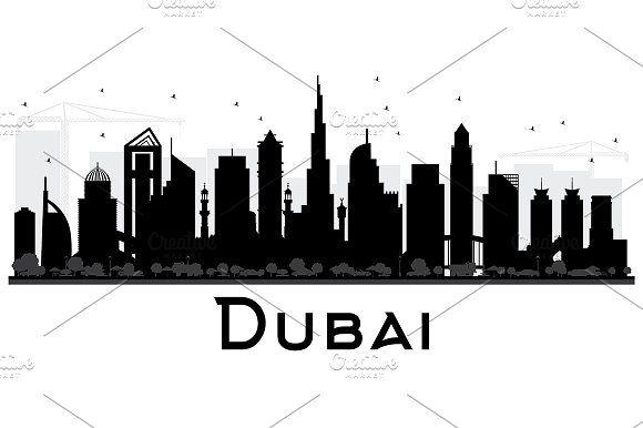 Dubai Uae City Skyline City Silhouette City Skyline Silhouette City Skyline
