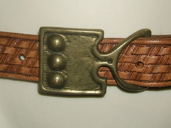 1970s Brass Buckle with Tooled Leather Basket by FlanneryCrane, $22.00